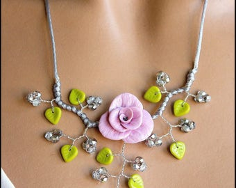 Green silver grey Flower necklace
