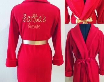 Children's Robe, Gift Monogrammed Robe, Custom Robe, Personalized Robe, Red Robe, Fleece Robe, Fluffy Robe, Cozy Robe