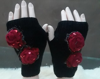 Red Rose Fingerless Gloves