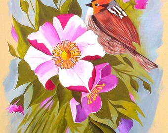 Original Acrylic Paintings Birds and Roses Pink White Purple and Red Orignal Art Wall Decor Home Decor Office Women Michael Hutton 9 x 12