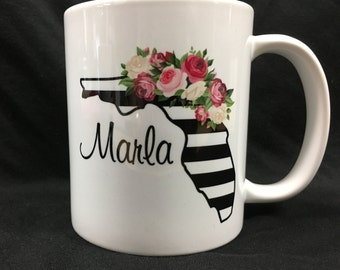 MUG, Personalized Florida mug with stripes and flowers