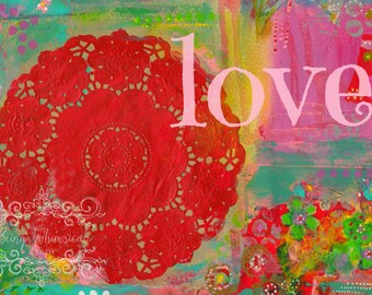 ART PRINT - LOVE Mixed Media Whimsical Art print A4 size Free local postage