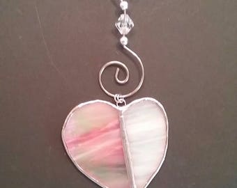 Heart #9 Streaky Pink & White Dangling Heart in stained glass as wall hanging or suncatcher, with spiral wire hanger