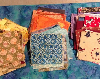 "Pre-cut Quilting Squares, Cotton fabric 3"" squares - QTY 50"