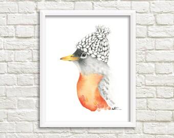 Poster art 8 x 10. Bird illustration. Robin watercolor illustration. Winter design. Bird drawing. Katrinn illustration