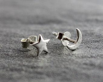 925 Sterling Silver Star & Moon Earrings, Star Earrings, Moon Earrings, Silver Stud Earrings, Dainty Earrings, Cute Earrings, Fashion Studs