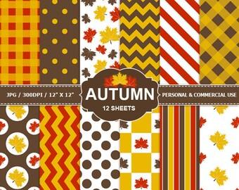 12 Autumn Digital Scrapbook Paper, digital paper patterns for card making, invitations, scrapbooking