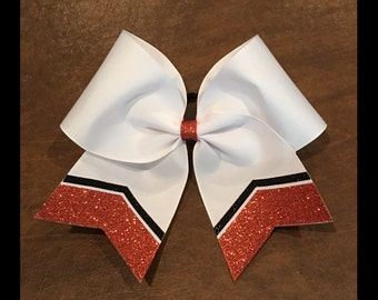 Practice Cheer Bow - Orange and Black Chevron (YOU CHOOSE COLORS)