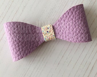 "Sweet Lilac Leatherette with Chunky Glitter 3"" Hair Bow, Headband"