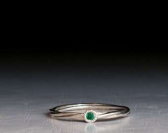 Everyday White Gold or Sterling Silver Emerald Ring