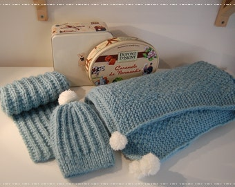 Knitted Baby Blanket, Hat and Scarf