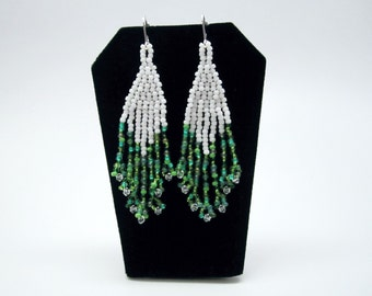 Fringe Crystal Earrings - Green and White