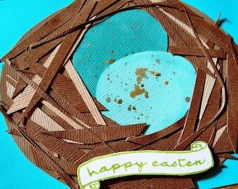 Happy Easter Robins Egg Bird Nest Handmade Blank Greeting Card