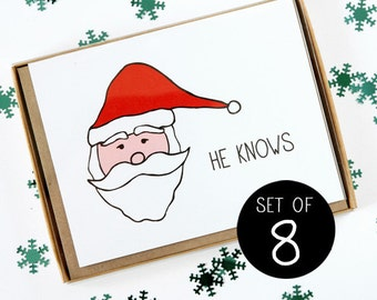 Santa Christmas Card - He Knows - Set of 8