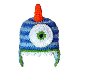 Boys Monster Hat, Baby Boy Crochet, Toddler Dress Up, Kids Striped Hat, Knit Hat Boys, Silly Character Hat, Infant Boy Crochet Hat, One Eyed