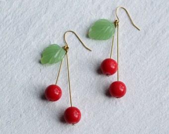 Cherry Earrings, Cherry Jewelry, Fruit Earrings, Kitsch Earrings, Gift for Women, Tree Earrings, Leaf Earrings