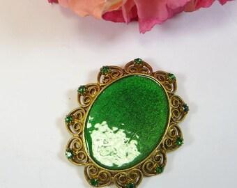 Vintage Green Enamel Brooch Pin, 1970s Emerald Green Enamel and Crystal Goldtone Brooch Pin, Unusual Vintage 70s Green Gold Brooch Pin