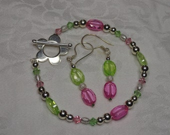 Spring Flowers Bracelet and Earrings