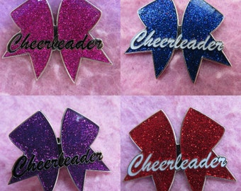 DEAL Of The WEEK - Cheerleader Cheer Bow Pin - Available in 4 colours, Red, Blue, Pink, Purple -  Cheer Bow Tradaing Pin Badge