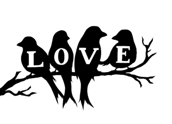 Items similar to Love birds silhouette on Etsy