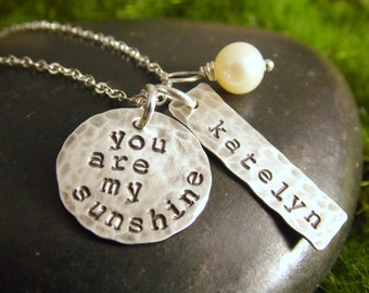 You Are My Sunshine Necklace Silver Hand Stamped Disc Necklace with One Name