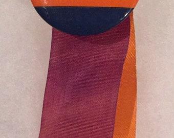 Vintage Circa 1950's University Illinois Football Pin Pinback with ribbons - Antique College Memorabilia