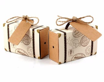 50pcs Wedding Favor Chocolate Boxes Vintage Mini Suitcase Candy Box Sweet Bags for Wedding Favors and Gifts Decoration