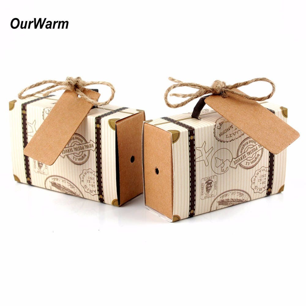 50pcs Wedding Favor Chocolate Boxes Vintage Mini Suitcase Candy Box ...