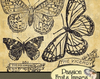 Victorian Butterflies with Labels  Images Photoshop Brushes and png files set