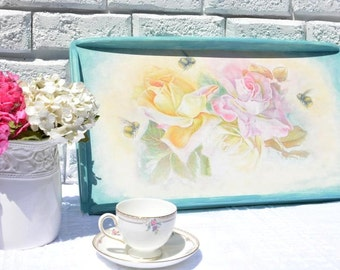 Hand Painted Decorative Serving Tray Mather's Day Gift Wooden Serving Tray Breakfast Tray Ottoman Romantic Coffee Table Tray Wedding Gift