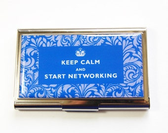 Business Card Case, Keep Calm, Start Networking, Card case, business card holder, Card case for her, Damask, You Pick Color (2951)