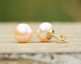 Pearl Earrings, 14K Gold Filled Rose Peach Pink Pearl Stud Earrings, Real Pearl Earrings, Freshwater Pearl Studs, Bridesmaids Gift, 6-10mm