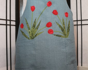 Garden Apron in Blue linen with Red Tulips