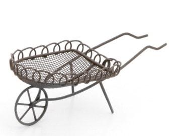 Fairy Garden Wheelbarrow, Miniature Rustic Wheelbarrow for Fairy Gardens, Terrariums, Dollhouse and Other Miniatures