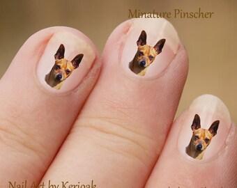 Dwergpinscher Nail Art, hond Nail Art Stickers, dwergpinscher Nail Stickers, vingernagel Stickers Min Pin Decals
