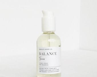 Balance Facial Toner- Natural- Organic- witch hazel- aloe- normal to oily skin types- calms- cools- balances- msm- lavender- cranberry