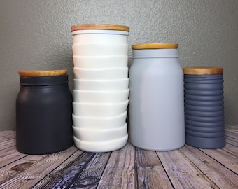 Exceptionnel Modern Urban Kitchen Canister Set / Rustic Farmhouse Style Kitchen Canisters  / Textured Glass Canisters / Matte Finish / Grays Charcoal