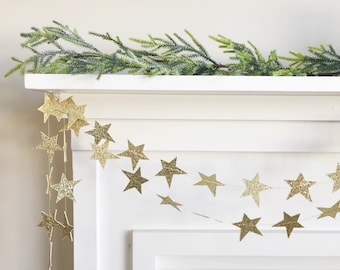 Mini Glitter Star Garland in Gold and/or Silver - 6 ft across - Banner, Bunting