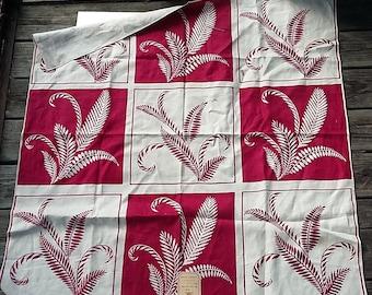 Vintage Linen Tablecloth Maroon & Ecru, Fern Fronds Pattern, Orig. Label