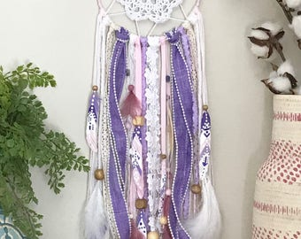 Pink and Purple Dreamcatcher, Pink Dream Catcher, Purple Dream Catcher, Pink and Purple Decor, Pink Nursery Decor, Purple Nursery Decor