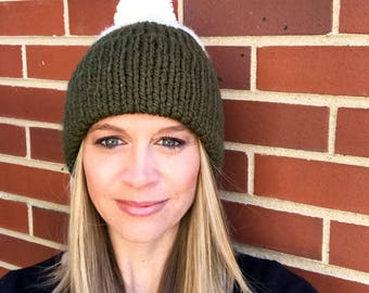 Double Brim Hat, Knit Beanie ~Two Toned in Green and Cream~ Pom Pom Optional