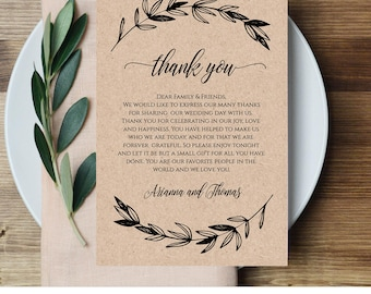 Wedding thank you note thank you card thank you letter in printable wedding thank you letter reception thank you note in lieu of favor card spiritdancerdesigns Images