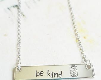 Be Kind Necklace - Inspirational Necklace - Silver Bar Necklace - Beach Necklace - Hand Stamped Bar Necklace - Custom Made Necklace