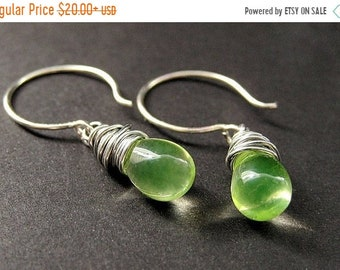 MOTHERS DAY SALE Teardrop Wire Wrapped Earrings in Lemon Lime and Silver. Handmade Jewelry by Gilliauna
