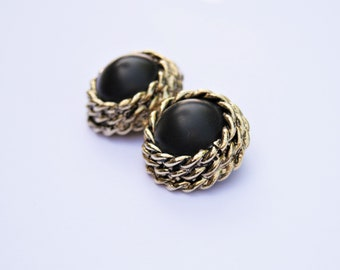 Vintage 1980's Gold Plated Round Clip-On Earrings With Jet Black Glass Cabochons // Ladies Clip On's // Made in England