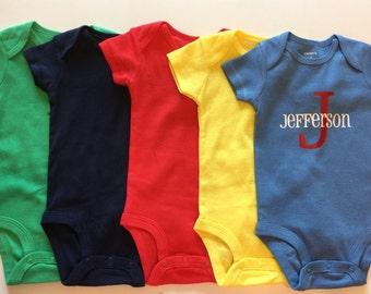 Monogram Onesie Baby Bodysuit Baby Shower Gift Custom Onesie Baby Boy Onesie Baby Gift Personalized Onesie Boy Monogram Onesie Gender Reveal