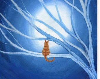 Orange Tabby Cat  SPIRIT TREE  art print by Todd Young