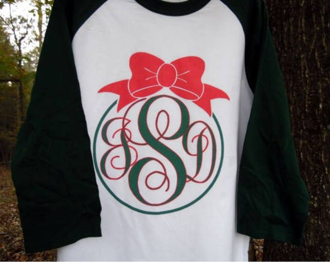 Christmas Ornament Monogrammed Raglan 3/4 sleeve baseball style T shirt - your initials, color combination.  High quality digital print