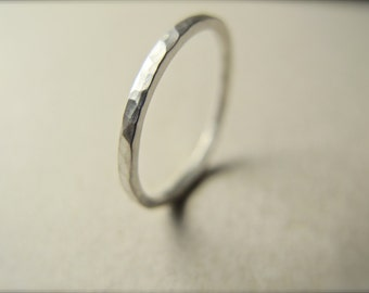 Stacking thin band in sterling silver -Hammer textured ring