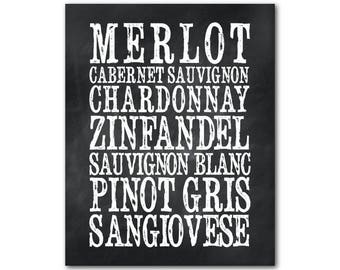 Wine Typography - Wine Names - Kitchen Wall Art - Wine Art - Happy Hour PRINT - Wine PRINT - Wall Decor - Dining Room Wall Art